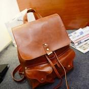 DAYAN Mann Frau Unisex Rucksack Leder Schultertasche Vintage New Echtes Leder Reisetasche Freizeitaktivitäten Wandern Größe Medium Color Yellow & Brown